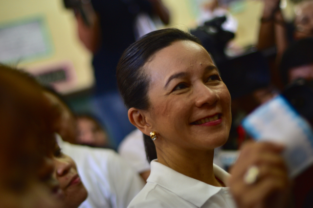 Senator Grace Poe after voting in San Juan on May 9 (Photo: Simon Roughneen)