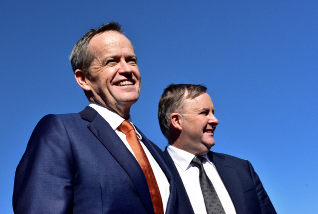 Labor leader Bill Shorten and party colleague Anthony Albanese at Port Botany, Sydney, on June 29 (Photo: Simon Roughneen)
