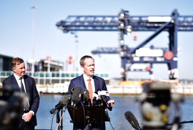 Australian opposition leader Bill Shorten speaks to media at Sydney's Port Botany on June 29, flanked by Anthony Albanese, the shadow minister for infrastructure, transport, cities and tourism (Photo: Simon Roughneen)