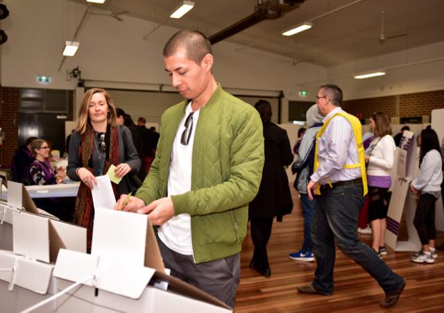 Voting inside Crown St. school in downtown Sydney