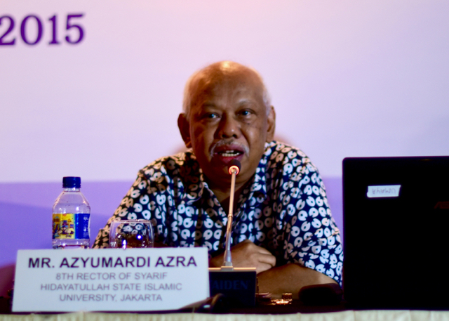 Azyumardi Azra speaks at an Organization of Islamic Cooperation conference in Jakarta in December. (Photo: Simon Roughneen)