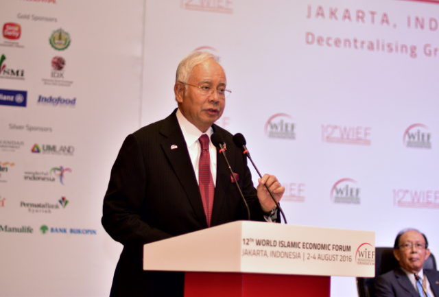 Malaysian Prime Minister Najib Razak speaks at the World Islamic Economic Forum in Jakarta on Aug. 2 (Photo: Simon Roughneen)