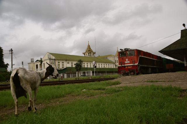 Yangon's main train station, likely to get an iverhail as the country's infrastructure awats revamping in the coming decades (Photo: Simon Roughneen)