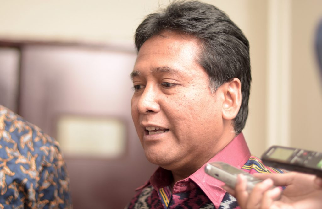 Apindo chairman Hariyadi B. Sukamdani speaks to media in Jakarta's Grand Sahid hotel on Sept. 8 (Photo: Simon Roughneen)