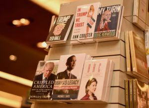 Asian interest? Books about presidential candidates Hillary Clinton and Donald Trump for sale in Jakarta on the eve of the November 8 election (Photo: Simon Roughneen)