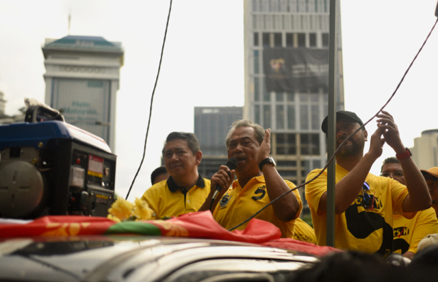 Najib's former deputy Muhyiddin Yassin, ousted last year for criticizing him over the corruption allegations, also joined the opposition alignment and thundered against the government at the rally (Photo: Simon Roughneen)