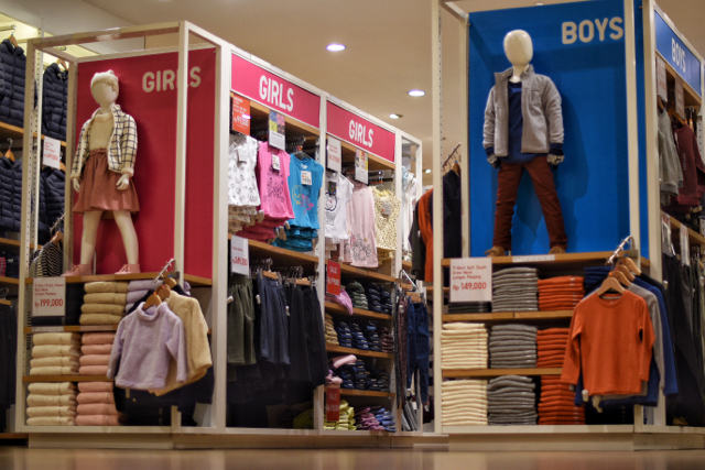 Uniqlo childrenswear for sale in a Jakarta mall. The Japanese brand is a big seller across Asia. (Photo: Simon Roughneen)