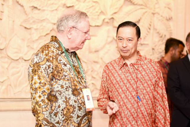 Indonesia's investment co-ordinator Thomas Lembong, right, and media entrepreneur Steve Forbes in Jakarta on Nov. 29. (Photo: Simon Roughneen)