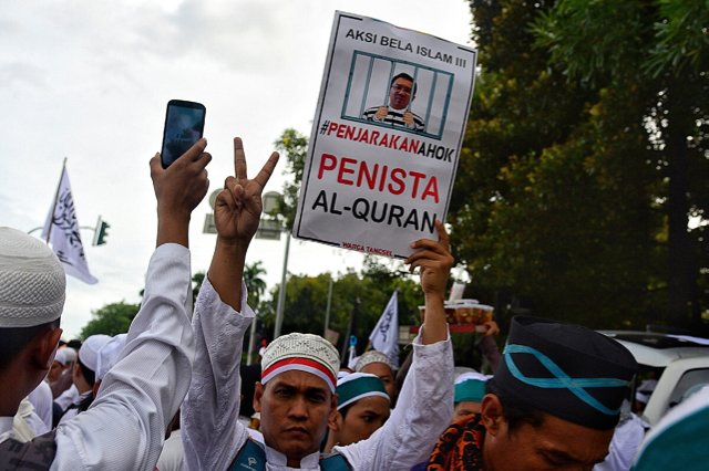 Islamist protestor calling for the governor of Jakarta to be jailed over alleged blasphemy, during a massive protest in central Jakarta on December 2 2016 (Photo: Simon Roughneen