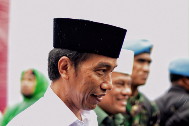 Indonesian President Joko Widodo after joining demonstrators protesting against his former deputy governor of Jakarta, incumbent Basuki Tjahaja Purnama, at the National Monument in Jakarta on Dec. 2 2016 (Photo: Simon Roughneen)