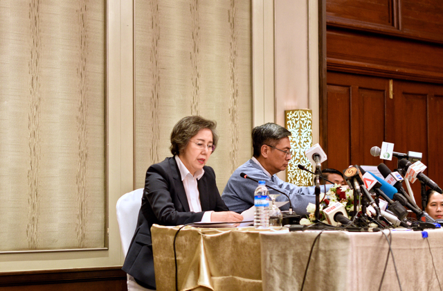 Yanghee Lee, the UN Special Rapporteur on the situation of human rights in Myanmar, at a press conference in Yangon on Jan. 20 2016 (Photo: Simon Roughneen)