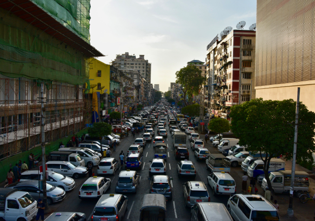 Myanmar's recent economic growth has resulted in frequent traffic jams on the streets of Yangon (Photo: Simon Roughneen)