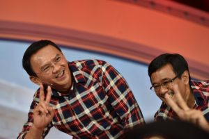 Governor of Jakarta Basuki Tjahaja Purnama and running mate Djarot Saiful Hidayat meet supporters after a televised Feb. 10 candidate debate (Photo: Simon Roughneen)