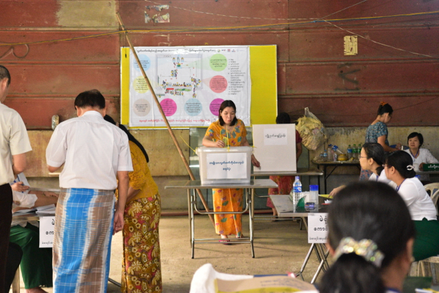 Early morning voting in Yangon's Chinatown for an upper house seat vacancy in Saturday's by-election poll (Photo: Simon Roughneen)