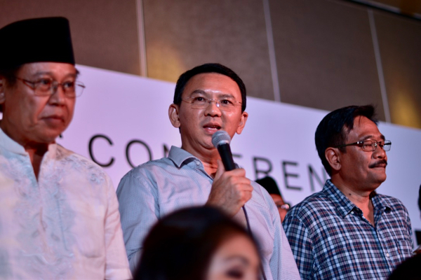 The ousted governor of Jakarta, Basuki Tjahaja Purnama, conceding defeat during a press conference held after the close of voting in the city's April 19 gubernatorial election (Photo: Simon Roughneen)