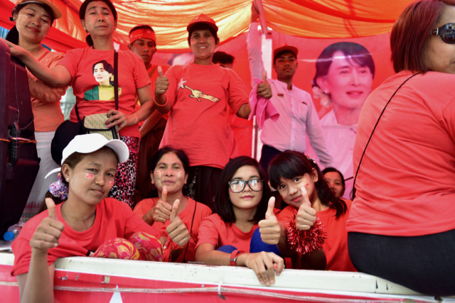 NLD supporters at by-election campaign rally in Yangon's Ahlone township on March 30 2017 (Photo: Simon Roughneen)
