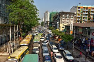 Yangon's traffic has grown heavy since the country's economy began growing (Photo: Simon Roughneen)