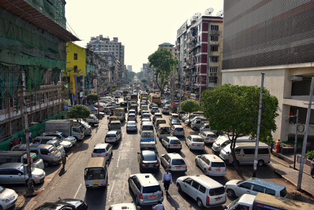 As car sales increase in Myanmar, traffic jams are increasingly common in Yangon, the biggest city and commercial center of the country (Photo: Simon Roughneen)