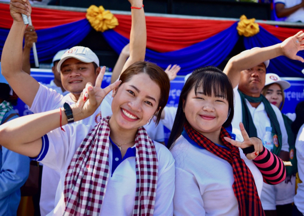 Supporters of the ruling Cambodian People's Party await Prime Minister Hun Sen at the closing campaign event for local elections on June 2 (Photo: Simon Roughneen)