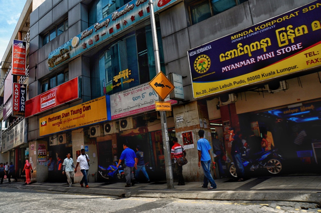 A street lined with Myanmar restaurants and shops in downtown Kuala Lumpur, a major destination for overseas Myanmar (Photo: Simon Roughneen)