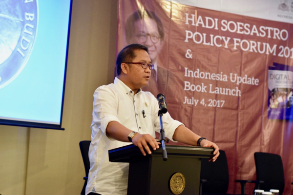 Indonesia's Communication and IT Minister Rudiantara speaking in Jakarta on July 4 (Simon Roughneen)