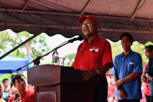 Mahathir Mohamad speaking at a May 5 2018 campaign event in Kampung Bukit, Pokok Sena, Kedah State, Malaysia (Simon Roughneen)