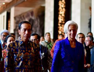 Indonesian President Joko Widodo and International Monetary Fund Managing Director Christine Lagarde (both center) at the IMF/World Bank annual meetings in Nusa Dua, Bali, Indonesia on Oct. 12 2018 (Simon Roughneen
