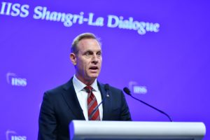 Acting US Defense Secretary Patrick Shanahan speaks at the Shangri-La Dialogue in Singapore, June 1, 2019 (Simon Roughneen)