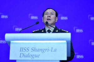 China's defense chief Wei Fenghe addresses the Shangri-La Dialogue meeting in Singapore, June 2, 2019 (Simon Roughneen)