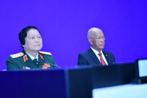 Vietnam's Defense Min. Ngo Van Lich and Philippine Defense Sec. Delfin Lorenzana at the Shangrila Dialogue in SIngapore on June 2 2019 (Simon Roughneen)