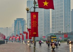 Roadside decor in Hanoi as Vietnam's ruling Communist Party held a major conference in Jan. 2016. Photo: Simon Roughneen