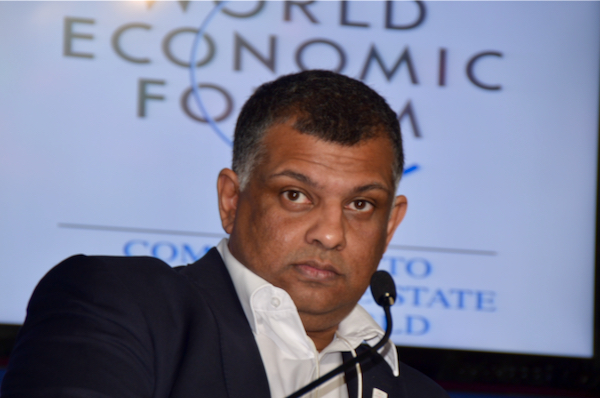 Tony Fernandes of Air Asia at the World Economic Forum in Myanmar n mid-2013 (Simon Roughneen)