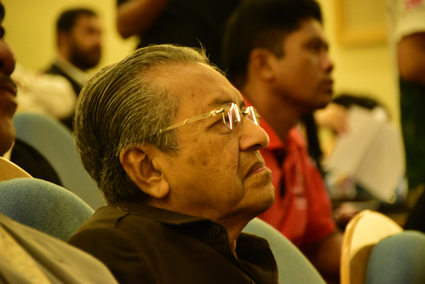 Mahathir Mohamad attending a June 2015 conference in Kuala Lumpur in support of the Rohungya,  a mostly-Muslim minority from Myanmar (Simon Roughneen)