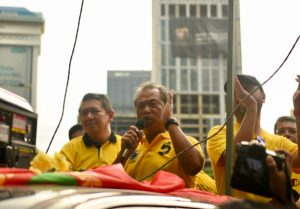 Muhyiddin Yassin seen giving a speech at an anti-government rally in Kuala Lumpur in November 2016 (Simon Roughneen)