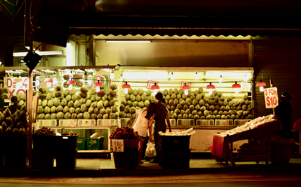 Durian for sale in Singapore (Simon Roughneen)