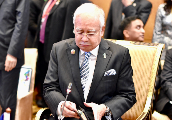 Najib Razak, then Malaysian prime minister, at the 2015 summit of the Association of Southeast Asian Nations held in Kuala Lumpur in 2015 (Simon Roughneen)