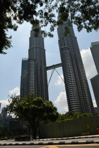 Empty streets around the Petronas Towers in Kuala Lumpur (Simon Roughneen)