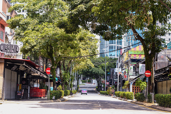 Not much traffic on the streets of Kuala Lumpur, six weeks into a lockdown which is slowing the spread of the new coronavirus (Simon Roughneen)