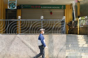 Shutters down on a restaurant in Kuala Lumpur during Malaysia's lockdown (Simon Roughneen)