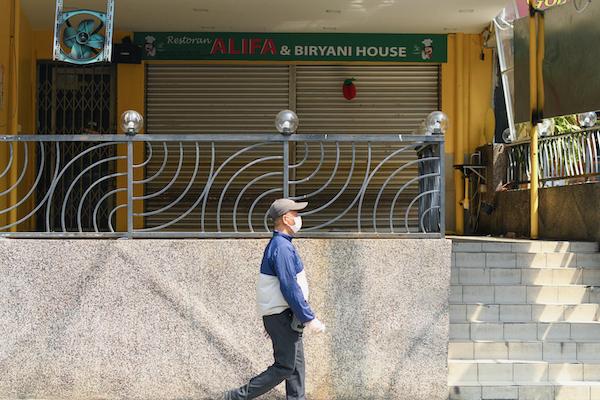 Shutters down on a restaurant in Kuala Lumpur during Malaysia's lockdown (Simon Roughneen)