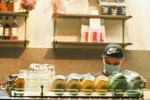 Barista at work in Kuala Lumpur café during Malaysia's lockdown (Simon Roughneen)