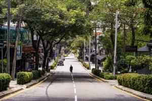 A near-deserted street in Kuala Lumpur during Malaysia's lockdown (Simon Roughneen)