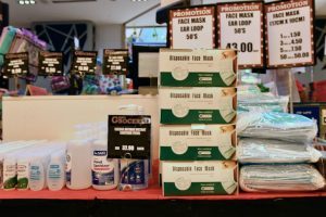 Masks and sanitisers for sale in Kuala Lumpur (Simon Roughneen)