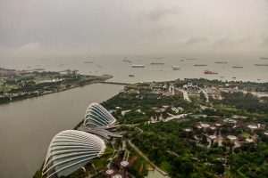 Singapore harbour seen from Marina Bay, a popular vantage point for visitors (Simon Roughneen)