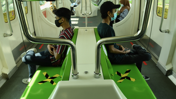 Social distancing rules applied on public transport in Kuala Lumpur (Simon Roughneen)