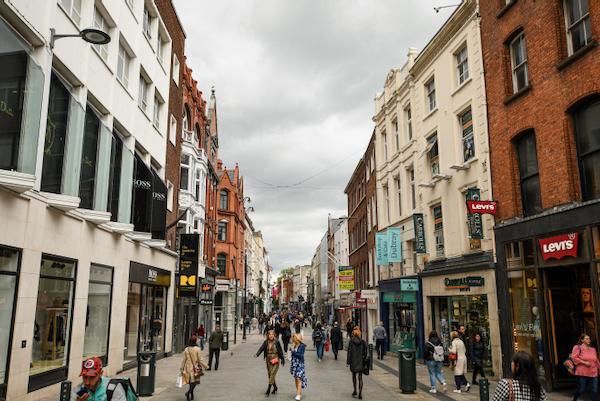Pedestrians on Grafton Street in Dublin (Simon Roughneen)