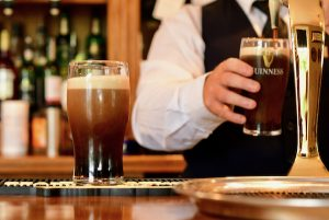 Pints of Guinness served on June 29 2020 as Ireland allows some pubs to reopen after almost 4 months closure due to coronavirus (Simon Roughneen)