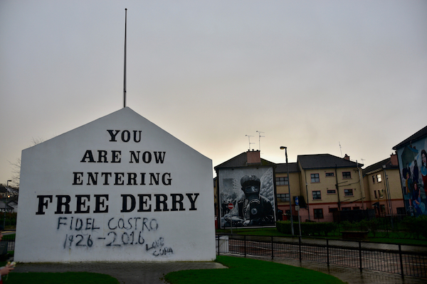 The Free Derry Corner, marking the entrance to the Bogside, an Irish nationalist stronghold in the city (Simon Roughneen)