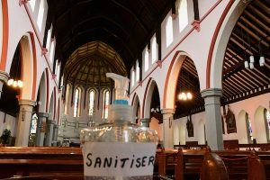 Hand sanitiser near the entrance of a church in Ireland (Simon Roughneen)