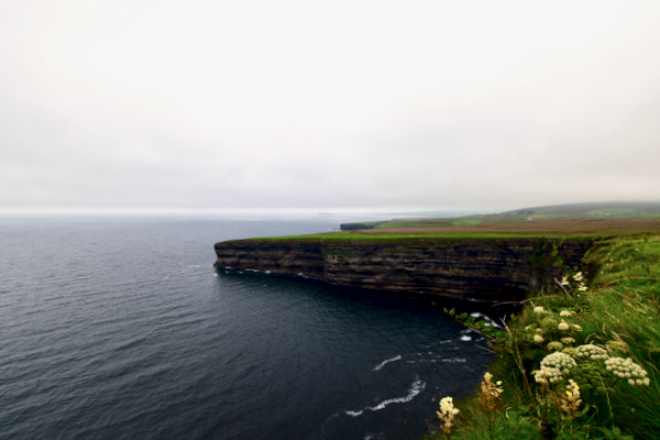 Looking out on the Atlantic over cliffs next to the Céide Fields, a landmark neolitihic site in the west of Ireland (Simon Roughneen)